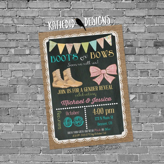 Military gender reveal invitation boots or bows lace cowboy burlap bunting chalkboard gender neutral baby shower 1410 chic invitations