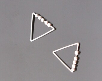 Silver tarnish resistant Beaded Triangle Charms with movable metal beads, connectors, pendants, 2 pc, KH715335