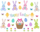 Easter Clip Art, Easter Bunny Clip Art, Easter Egg Clipart, Pastel Easter Clipart, Instant Download, Vector Commercial Use