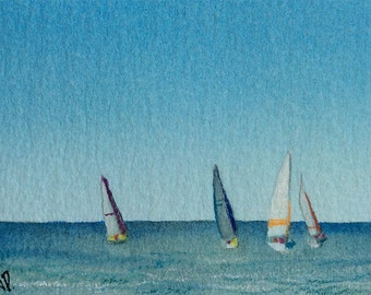ACEO Original watercolor painting - Blue sailing