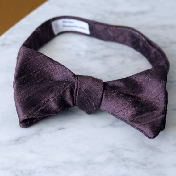 Solid Raisin Purple Silk Bow Tie - Groomsmen and wedding tie - clip on, pre-tied with strap or self tying