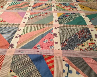 Vintage Quilt Top  1940-50's. Feed sacks. Bright Colors. Handmade