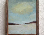 Original acrylic painting - abstract landscape - palette knife - gray beige neutral colors - semi abstract painting