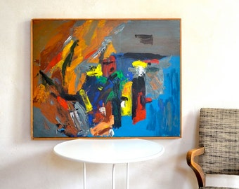 Vintage Abstract Painting Original Signed SKOV 1969
