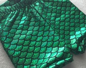 Mermaid Shorts Green and Black Birthday girls fish scale 3 6 12 18 24 months 2T 3T 4T 5T 6 7 8 9 10 11 12 14 costume Baby Toddler