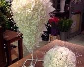 Foam roses all ivory wedding teardrop bouquet bridesmaid posy groom buttonhole package diamante bead pearl brooch heart detail classic bride