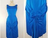 Vintage 1950s Satin Cocktail Dress / Sapphire Blue / Small