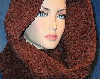 Brown Crochet Infinity Scarf, Chunky Brown Infinity Scarf, Plush Infinity Scarf, Chenille Infinity Scarf, Comfy Scarf, Brown Crochet Scarf