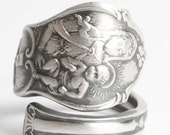 Madonna and Child, Catholic Ring, Sterling Silver Spoon Ring, Mary Jesus, Catholic Jewelry, Crucifix Rosary Ring, Adjustable Ring Size, 6100