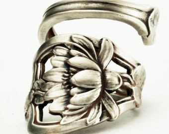 Lotus Flower Ring, Spectacular Water Lily Ring, Sterling Silver Spoon Ring, Art Nouveau Ring, Handmade Jewelry, Adjustable Ring Size (1003)