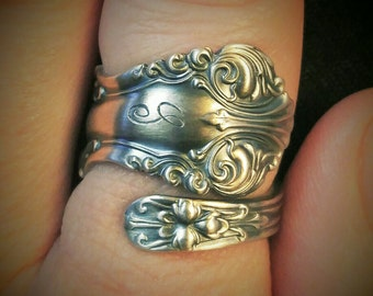 Sterling Silver Spoon Ring,  Victorian Ring, Petite Ring, Custom Ring Size, Vintage Spoon Ring, Frank Smith ca 1912 George VI, Gift (6155)