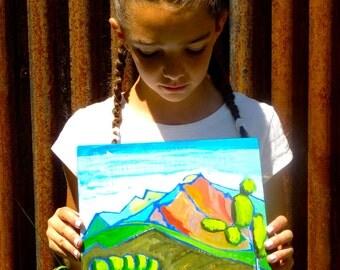 art landscape, Mount Sopris, 10 x 10 original painting, Colorado Mountains,  acrylic painting,  illustration, landscape painting, plen air