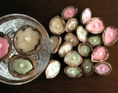 Walnut floating candles / Set of 18 cherry scented pink green and beige coloured soy wax / Home & garden decor / Ecofriendly Wedding favors