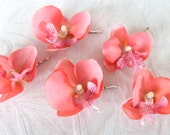 Coral Orchid hair fascinators real touch phalaenopsis orchid hair clips bridal hair clip tropical fascinator
