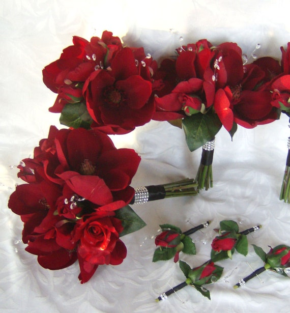 Red roses red magnolias and gem wedding bouquet and boutonniere bridal bouquet set
