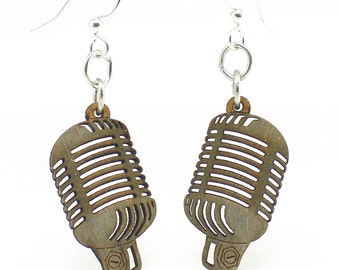 Retro Vintage Microphone - Earrings laser Cut from Sustainable Wood Source