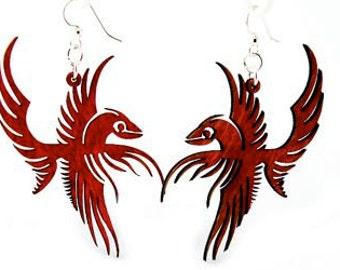 Flying Phoenix Earrings - Laser Cut Wood Earrings