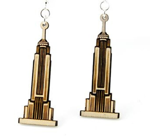 Empire State Building New York City - Wood Earrings