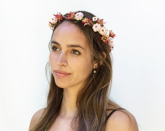 Pink Rose and Daisy Flower Crown, Flower Girl, Bridal Flower Crown, Bridal Headpiece, Floral, Flower Circlet, Woodland, Wedding, Rustic