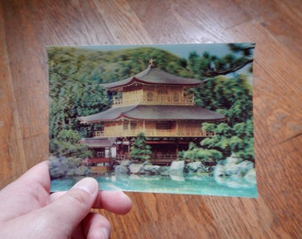 Retro 1960s 3D Postcard - Asian Pagoda Scene / Unique Vintage 60s Ephemera, Japanese Chinese Image, Made in Japan