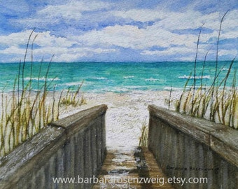 Beach Print, Beach Painting, Beach Wall Art, Coastal Art, Beach Watercolor, Nautical Wall Art, Beach Home Decor, Beach Gift, Seashore Bridge