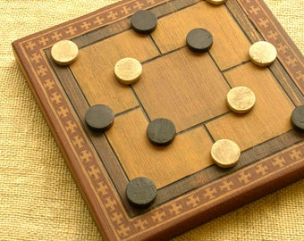 ANCIENT BOARD GAME  - Woodwork - Art - Handmade - Decoration - Gift - Wedding gift - Christmas gift:  5 and 6 Men's Morris (Europe).