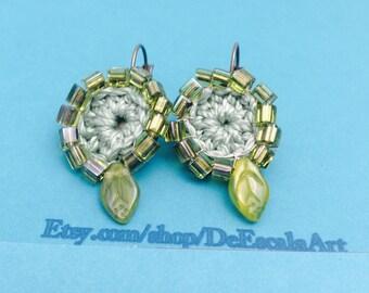 Green clip on Earrings, Beaded brass, Vintage inspired, item no D107