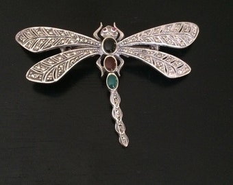 Vintage Sterling Silver Large Marcasite Gemstone Dragonfly Pin, Brooch Lapel Pin, Sweater pin, Dress Pin, Bent Spoon Jewelry