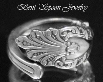 Spoon Ring, Vintage Dainty Raphael 1896, Silver Spoon Ring size 5.5, Silverware Jewelry