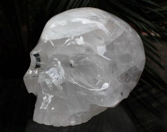 "STUNNING 4.6"" Natural Quartz Rock Carved Crystal Skull Without Jaw 2.77 LB C0706"