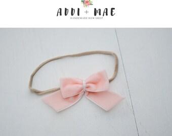 Peach Pink Dainty Bow Headband