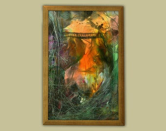 Roaming man, muticolor landscape, giclee print on paper, gift for boy, vertical wall hanging, wanderer, waterfall, positive, sunset, fantasy
