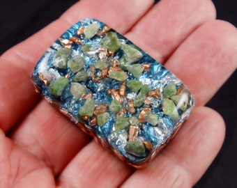 Jade Moldavite Pocket Orgonite Orgone Generator.. Tibetan Crystals, Phenacite, Petalite, Tourmaline, Elite Shungite, Gold Powder (h33)