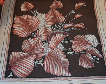 Vintage Olivetti Silk Scarf Autumn Leaves In Browns, Rust, Black and Gold