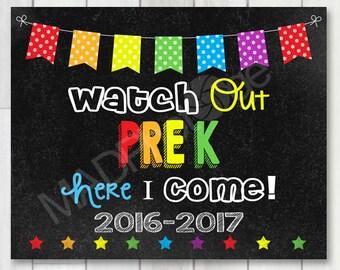 Watch Out PreK Chalkboard sign, Instant Download, Last Day of School, Kinder Grad, 1st day of preschool, Preschool Graduation Invitation