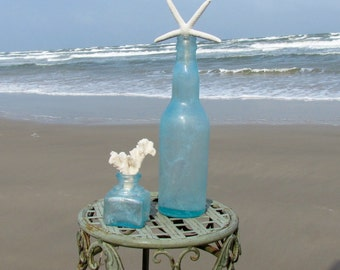 Set of Two Vintage Antique Aqua Bottles with Starfish and Coral