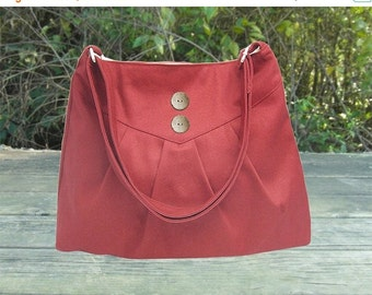 Holiday On Sale 10% off red cross body bag / messenger bag / shoulder bag / diaper bag  - cotton canvas