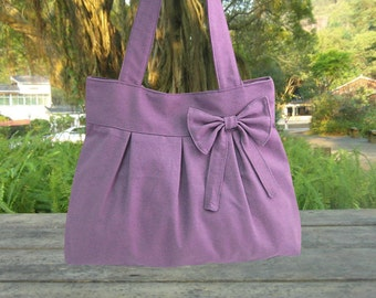 purple travel bag / tote bag / shoulder bag /diaper bag / bow canvas purse / zipper closure