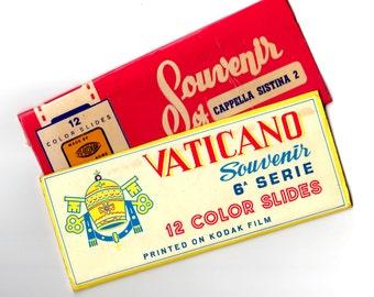 Vintage Vatican Souvenir 22 Color Slides - Mixed Media, Altered Art, Collage, Scrapbooking, Assemblage Supplies