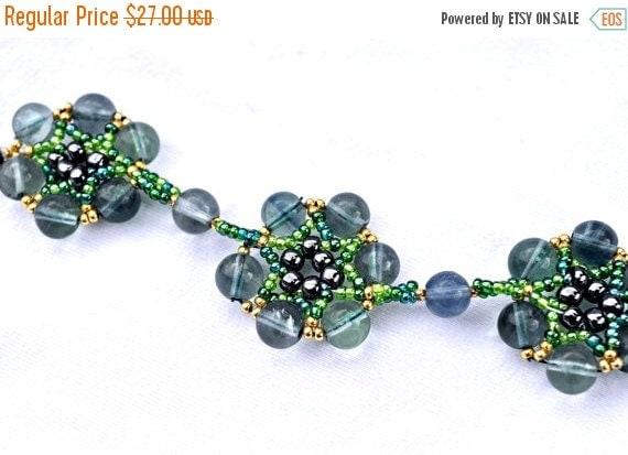 20% Off Blue/Green Transparent Fluorite Gold Sead Beads Bracelet