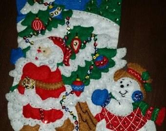 "Finished Felt Christmas Stocking ""Pick A Tree"" 16 inch"