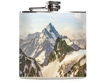 Mountain Flask Mens Hunting Camping Hiking Outdoor Wedding Groomsmen Stainless Steel 6oz Hip Flask