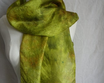 long silk scarf hand dyed scarf chartreuse green gold green silk scarf OOAK silk scarf