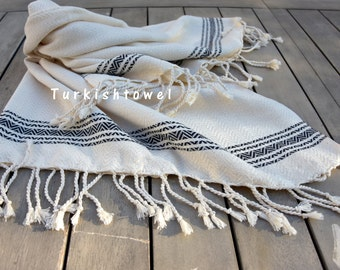 Turkishtowel-Soft-Hand woven,warp&weft cotton Hand,Tea,DishTowel-Herrigbone pattern,Black stripes on Natural Cream