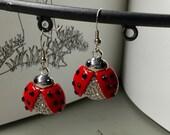 Women's Earrings, Teen Girl Earrings, Animal Earrings, Lady Bug Earrings, Red & Black Earrings, Silver and Red Earrings, Womens Jewelry