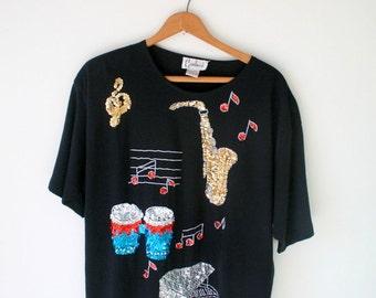 Vintage MUSICAL Sequins Blouse..womens. black. mod. urban. blouse. womens. ladies. mad men. vintage blouse. music notes. fancy. flute.