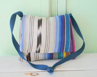Vintage AZTEC Hippie Shoulder Bag...aztec. boho. hippie. colorful. knit. purple. blue. yarn. woven. shoulder purse. retro. indie. ethnic