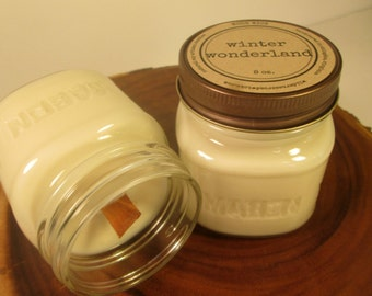 Winter Wonderland 8 oz. Soy Mason Jar Candle //  Wood Wick // Christmas/Holiday/Winter/Fresh Scent