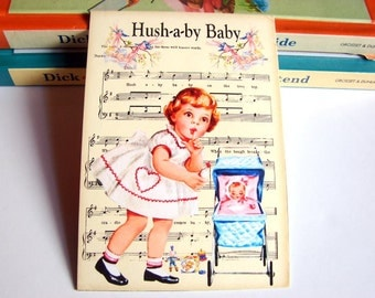 Small Ready to Frame Print * Hush A By Baby Girl Doll In A Stroller Lullaby Nursery Rhyme Sheet Music Baby Toddler Kids Room Home Decor
