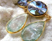 MERRY SALE SALE Abalone Shell and Green quartz gold earrings